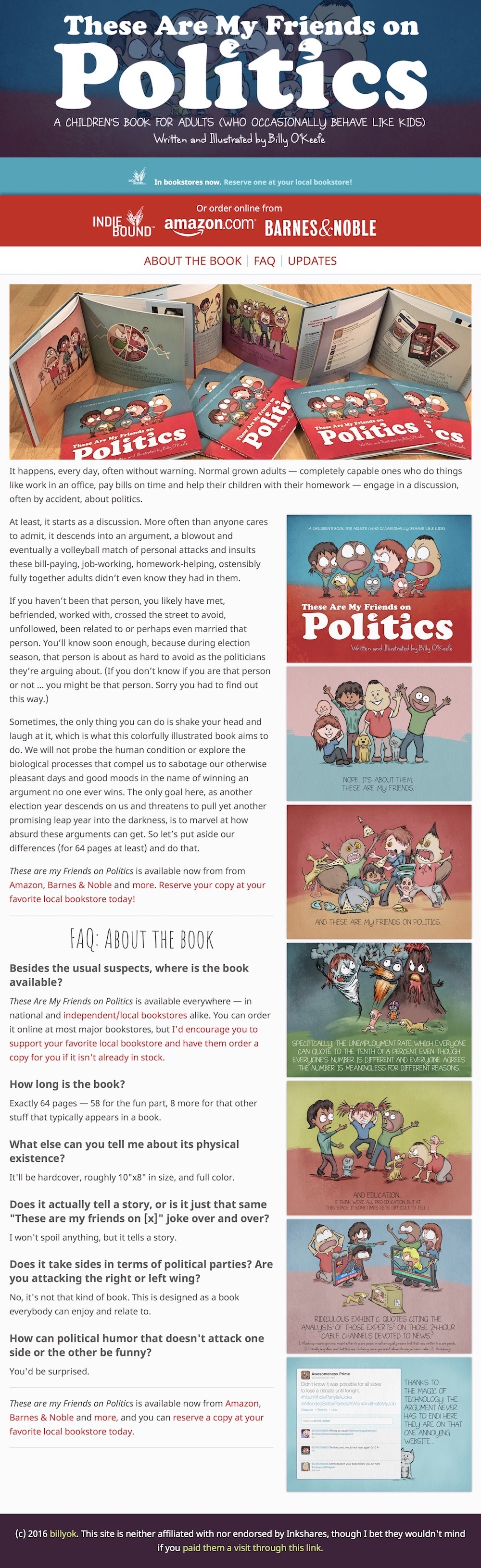 """These Are My Friends on Politics"""" Book Promotional Website 